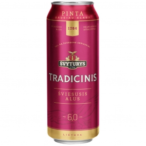 "Пиво светлое ""Svyturys Tradicinis"" (Швитурис Традицинис) пастеризованное 0,568 л. ж/б 6,0%"