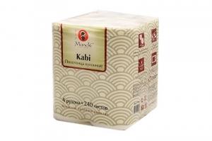 """Полотенца кухонные бумажные """"Maneki"""", серия Kabi, 2 слоя, 60 л., белые, 4 рулона/упаковка"""