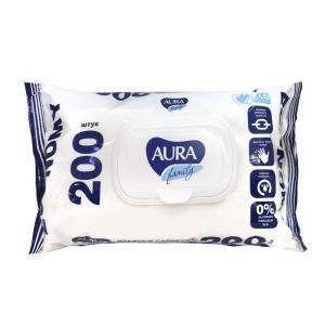 """Влажные салфетки """"Aura""""  200 шт."""