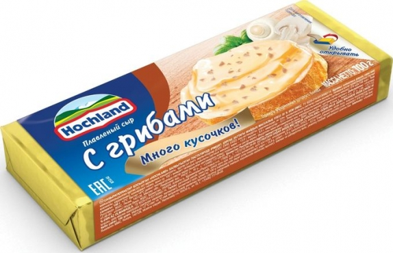 """Плавленый сыр """"Hochland"""" (блочки) с грибами 100гр."""