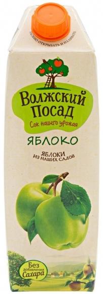 """Сок """"Волжский посад"""" яблочный осветленный 1 л"""