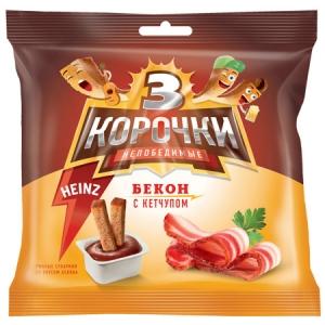 """Сухари """"Три корочки"""" со вкусом бекона с соусом  кетчуп 60гр."""