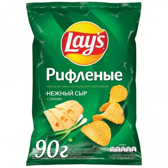 """Чипсы """"Лейс"""" нежный сыр с луком 90 гр"""