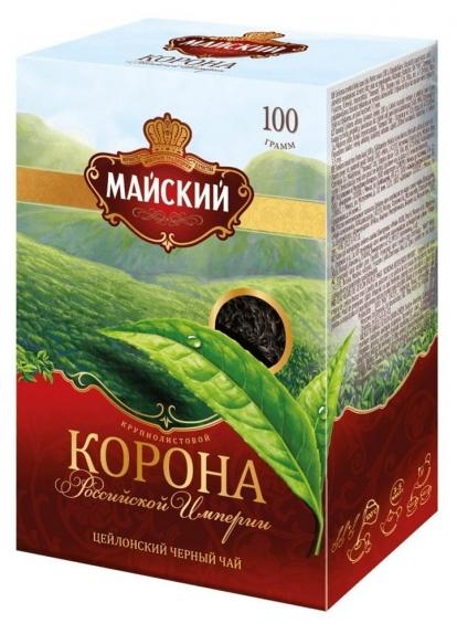 """Чай """"Майский"""" Корона Российской Империи чёрный крупнолистовой 100 г"""