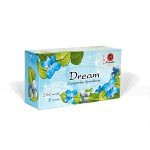 """Салфетки бумажные """"Maneki"""", серия Dream, 2 слоя, белые, 200шт/коробка"""