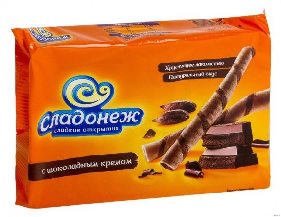 """Вафельные трубочки со вкусом шоколада""""Сладонеж"""" 175гр."""