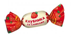 """Карамель с молочной начинкой """"Клубника со сливками"""" вес"""