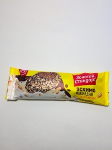 """Мороженое эскимо """"Золотой стандарт"""" шоколадное с арахисом и кукурузными хлопьями 61 гр."""