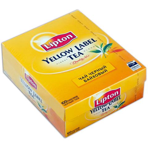 """Чай """"Lipton"""" Yellow Label чёрный в пакетиках 100 Х 2 г"""