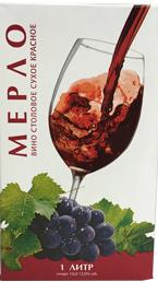 """Вино """"Мерло"""" столовое сухое красное 10-12% 1л.(Россия)"""