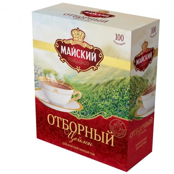 """Чай """"Майский"""" отборный чёрный в пакетиках 100 Х 2 г"""