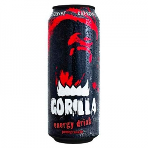 """Напиток """"Gorrila pomegranete""""б/а тонизирующий (энергетический) (С соком граната) ж/б 0,45 л."""