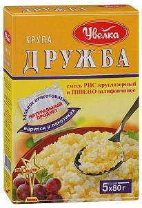 """Крупа ДРУЖБА (рис круглозерый, пшено)  """"Увелка"""" (5 пак) 400 гр."""