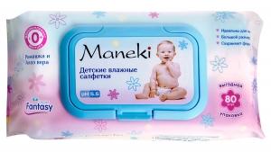 """Салфетки влажные """"Maneki"""", детские влажные Fantasy с экстрактом ромашки и алоэ вера 80 шт."""