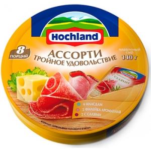 """Сыр плавленый """"Hochland"""" Хохланд Ассорти тройное удовольствие  140 г"""