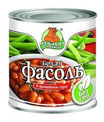 """Фасоль белая """"Медведь любимый"""" в томатном соку 425г"""