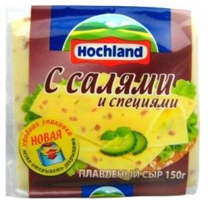 """Сыр плавленый ломтевой """"Hochland"""" Хохланд с салями и специями 150 г"""