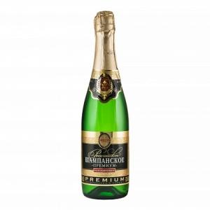 """Российское шампанское """"Премиум"""" полусладкое белое 10,5-13% 0,75л."""