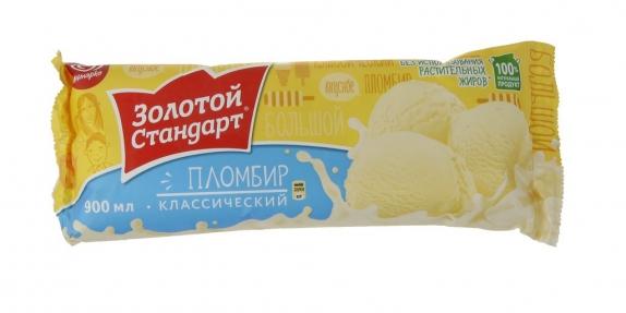 """Мороженое """"Золотой Стандарт"""" Классический пломбир 900 мл."""