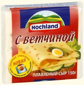 """Сыр плавленый ломтевой """"Hochland"""" Хохланд с ветчиной 150 г"""