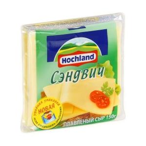 """Сыр плавленый ломтевой """"Hochland"""" Хохланд Сэндвич 150 г"""