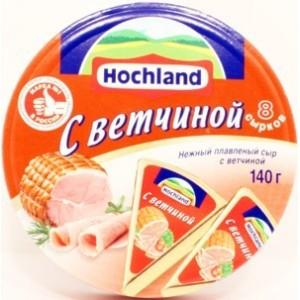 """Сыр плавленый """"Hochland"""" Хохланд С ветчиной 140 г"""