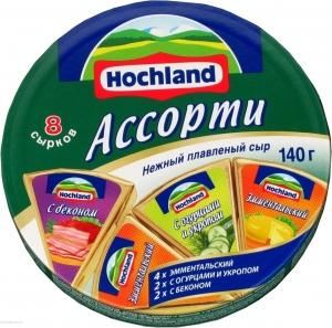 """Сыр плавленый """"Hochland"""" Хохланд Ассорти 140 г"""