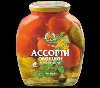 """Консервы """"Медведь любимый"""" Ассорти овощное 1500 мл."""