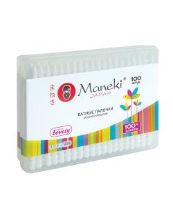"""Палочки ватные косметические """"Maneki"""", серия Lovely, с белым пластиковым стиком, в пластиковой коробке, 100шт./упак"""