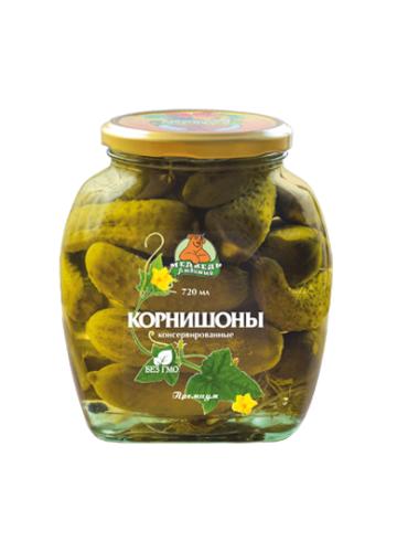 """Корнишоны """"Медведь Любимый"""" Премиум 720 мл"""