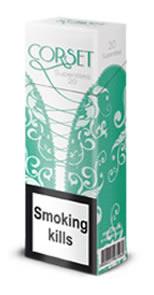 """Табачный набор сигареты с фильтром """"Корсет суперслим с ментолом"""" и спички"""