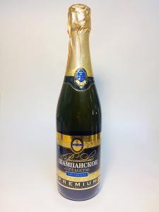 """Российское шампанское """"Премиум"""" полусухое белое 10,5-13% 0,75л."""