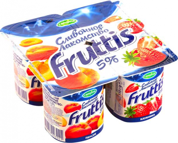 "Йогурт ""Фруттис Сливочное лакомство"" в ассортименте 5% 115 гр."