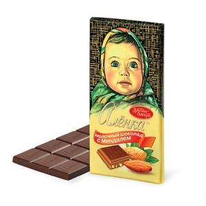 "Молочный шоколад ""Алёнка"" с миндалём 100 г"