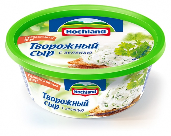 Сыр плавленый Хохланд (ванночка) творожный с зеленью  140 гр
