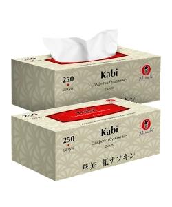 """Салфетки бумажные """"Maneki"""", серия Kabi, 2 слоя, белые, 250шт/коробка"""