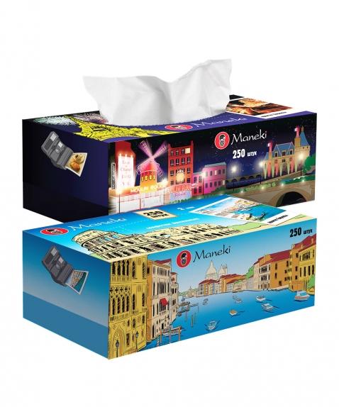 """Салфетки бумажные """"Maneki"""", серия Dream с ароматом Европы, 2 слоя, белые, 250шт/коробка"""