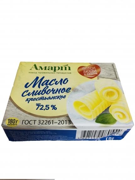 """Масло сливочное  """"Крестьянское"""" (Техресурс) 72,5%  180 гр."""