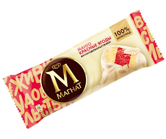 """Мороженое Инмарко """"Магнат"""" манго, красные-ягоды в белом шоколаде 80 гр."""