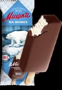 """Мороженое """"Мишка на полюсе"""" эскимо пломбир ванильный в шоколадной  глазури 70гр."""