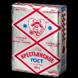 """Масло сливочное """"Крестьянское"""" (Новоград) 72,5%  180 гр."""
