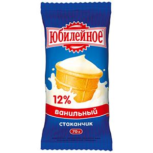 """Мороженое стаканчик ваф. """"Юбилейное"""" ванильное 12% 70 гр."""