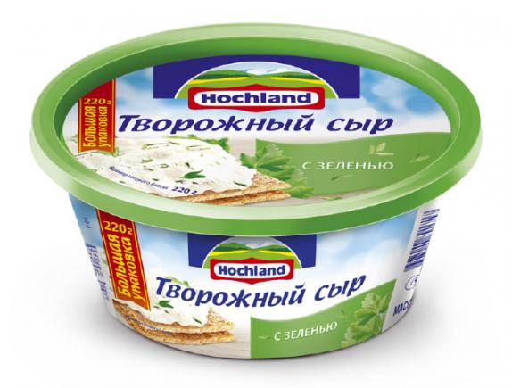 """Творожный сыр """"Hochland"""" с  зеленью 220г"""