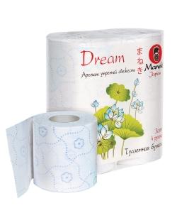 """Бумага туалетная """"Maneki"""", серия Dream, 3 слоя, 23м, 167л, с голубым тиснением и ароматом утренней свежести, 4 рулона/упаковка"""
