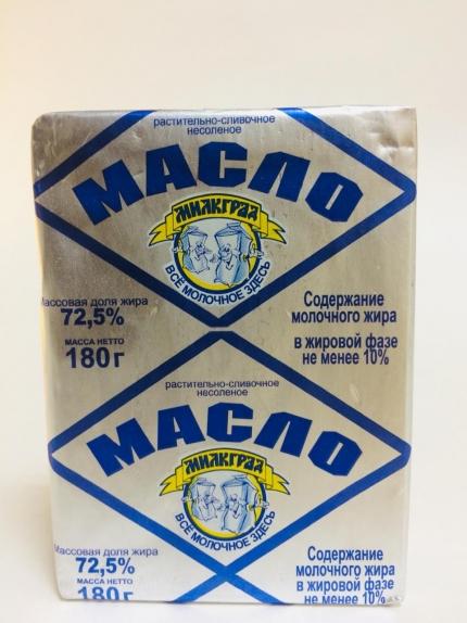 """Масло растительно-сливочное """"Милкград"""" 72,5% 180 гр."""