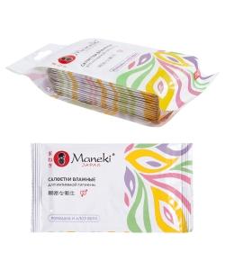"""Салфетки влажные """"Maneki"""", серия Kaiteki для интимной гигиены с алоэ и ромашкой, в инд. упаковке 15шт/упак"""